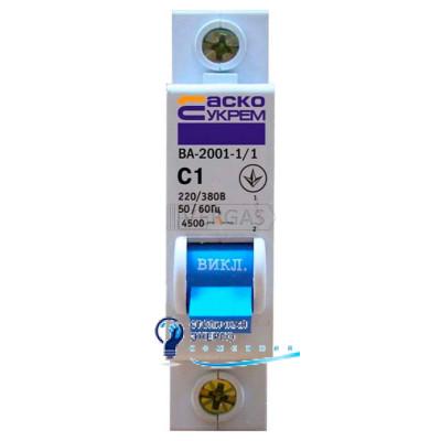 Автоматический выключатель ВА-2001 1р 50А С, Аско-Укрем
