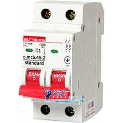 Автоматический выключатель 2р, 2А, e.mcb.stand.45.2.C2, E.NEXT